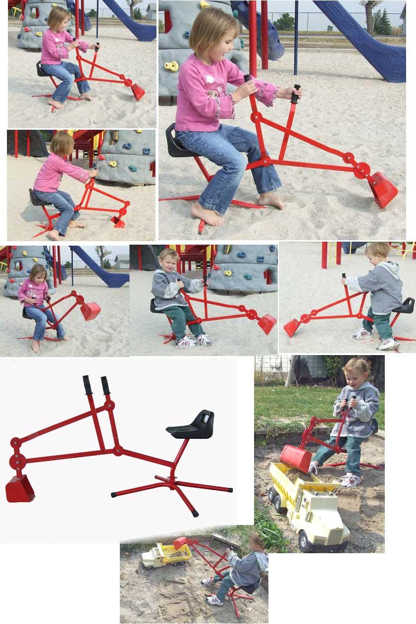 sandbox digger backhoe toy excavator for children on sand and